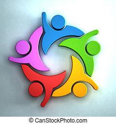 concept, groupe, peoplegiving, collaboration, hi5., 3d