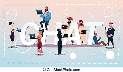 concept, groupe, réseau, bavarder, gens, communication, gadgets, social