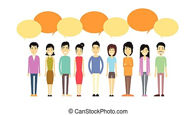 concept, groupe, réseau, foule, gens, communication, asiatique, bavarder, social, bulle, désinvolte