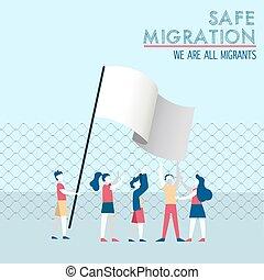 concept, groupe, sûr, divers, migration, enfants