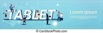 concept, groupe, tablette, bavarder, gens, communication, informatique, social, réseau