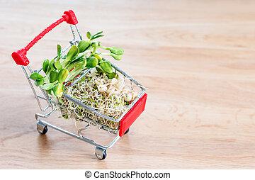 concept, grown, shoppen , microgreens, anders, vitamine, nature., achtergrond., health., eten, tuin, symbool, kar, sale., produceren, types, organically, groente, houten, micro, fris, gezonde
