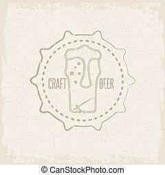 concept, grunge, fil, aiguille, étiquette, bière, métier