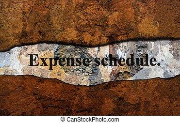 concept, grunge, horaire, dépense