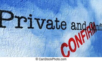 concept, grunge, privé, confidentiel