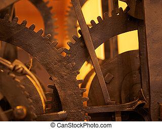 concept, grunge, technology., engrenage, rouage horloge, science, arrière-plan., dent, roues, industriel