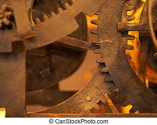 concept, grunge, technology., tandwiel, clockwork, wetenschap, achtergrond., cog, wielen, industriebedrijven