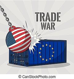concept, guerre, commercer