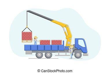 concept., guindaste, caricatura, work., esboço, unloads, junto., apartamento, pallets., motorista, trabalho, tijolos, trabalhador, construção, ilustração, operador, manipulador, maquinaria, caráteres, jobs., vetorial, linear