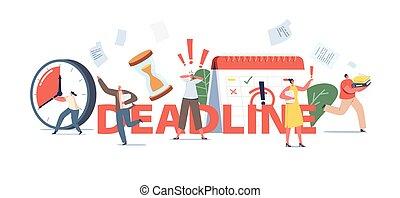 concept., hâte, haut, gens, courant, chaos, date limite, caractères, bureau, inquiet, ouvriers, business, accentué, job.