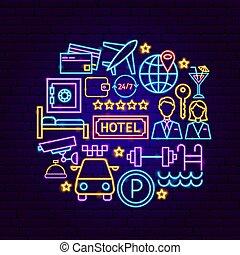 concept, hôtel, néon
