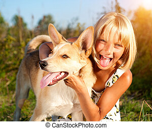 concept, haar, dog, samen., meisje, vriendschap