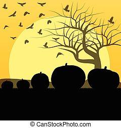 concept, halloween, arbre, vecteur, fond, corbeau, citrouille