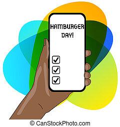 concept, hamburger, zakelijk, meest, dit, tekst, scherm, geschiedenis, space., schrijvende , day., gehouden, smartphone, closeup, sandwiches, apparaat, woord, hand, viert, lege, onweerstaanbaar