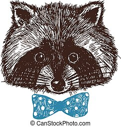 Concept hand drawn cute raccoon in bow-tie. Vector illustration. Design template for greeting cards etc.