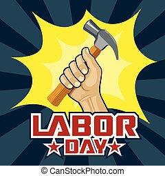 concept, hand houdend, arbeid, hamer, dag, vrolijke