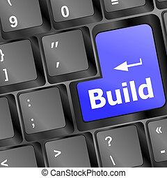 concept, handel computer, bouwen, toetsenbord, key.