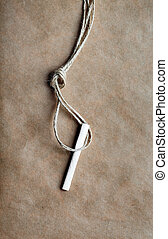 concept hangman's knot on kraft paper background with cigarette