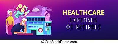 concept, header., kosten, gezondheidszorg, spandoek, pensioentrekkeren