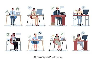 concept., headphone., 呼出し, ビジネス 人々, 女性, オフィス, 中心