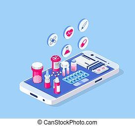 concept., healthcare, apotek, medicinsk