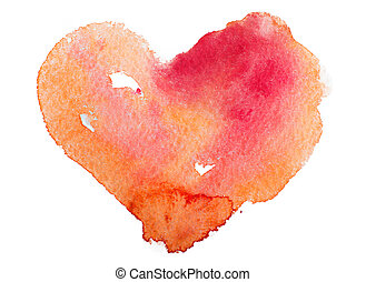 concept, heart., amour, -, tableau aquarelle, art, relation