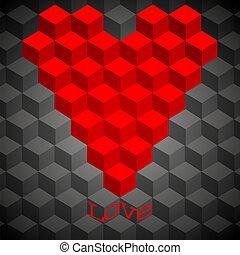 concept, heart., illustration., meetkunde, keuze, vector, ...