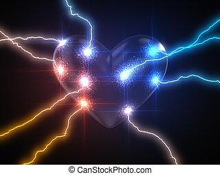 concept, heart., macht, love., illustratie, lightning, 3d