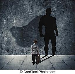 concept, held, machtig, jonge, wall., zijn, kleine, zakenman, schaduw, fantastisch, man