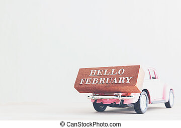 Concept Hello february message on stick. vintage tone.
