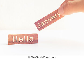 Concept Hello January message on stick. vintage tone.
