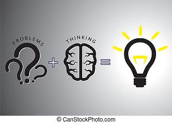 concept, het oplossen, -, oplossing, informatietechnologie, hersenen, gebruik, probleem