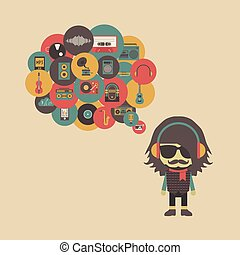concept, hipster, écoute