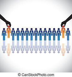 concept, hiring(chosing), graphic-, métier, vecteur, ...