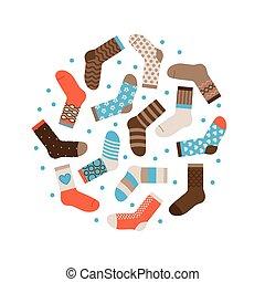concept, hiver, chaud, isolé, chaussettes, vecteur, rond