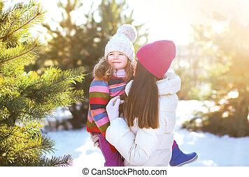 concept, hiver, gens, mère, -, w, enfant, amusement, avoir