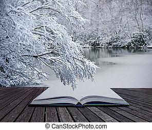 concept, hiver, idée, créatif, livre, venir, magique, pages, paysage, dehors
