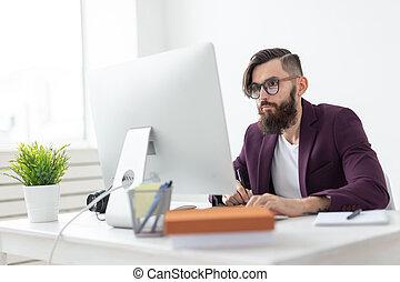 concept, hoek, kantoor, tablet, kunstenaar, mensen, -, hoog, grafisch, iets, technologie, tekening, aanzicht
