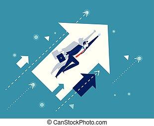 concept, homme affaires, growth., voler, vecteur, illustration., arrows., business