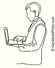 concept, homme affaires, stands, obliquement, réussi, ordinateur portable, continu, isolé, affaires illustration, arrière-plan., vecteur, tenue, complet, drawing., monochrome, ligne blanche, hands., illustration.