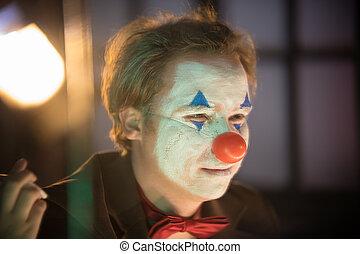 concept, homme, clown, miroir, figure, -, peint, regarder
