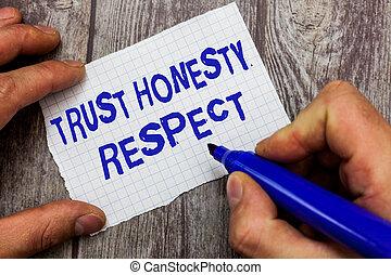 concept, honnêteté, respectable, texte, caractère, écriture, facette, traits, signification, bon, moral, écriture, confiance, respect.