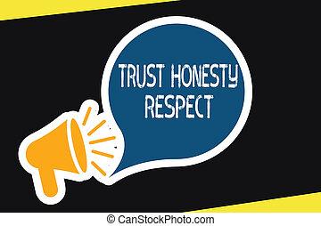 concept, honnêteté, respectable, texte, caractère, facette, traits, signification, bon, moral, écriture, confiance, respect.