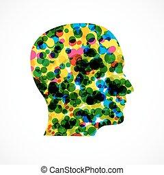 concept, hoofd, vector, menselijk, illustratie