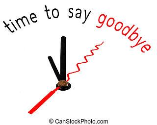 concept, horloge, dire, revoir, temps