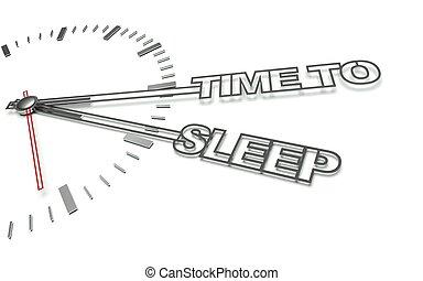 concept, horloge, repos, mots, temps, sommeil