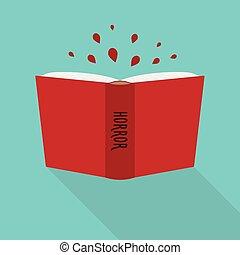 concept, horreur, littéraire, livre, genre, icon., fiction, ouvert