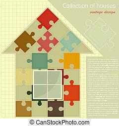 concept, house., puzzle, construction, -