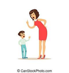 concept, hurlement, elle, fils, négatif, illustration, vecteur, émotions, mère