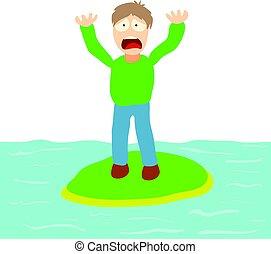 concept, hydrophobia, dessin animé, illustration